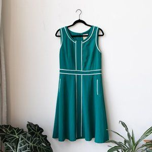 ModCloth Turquoise & White Fit & Flare Dress